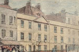 Drawing of the original Middlesex Hospital on Windmill Street, 1840